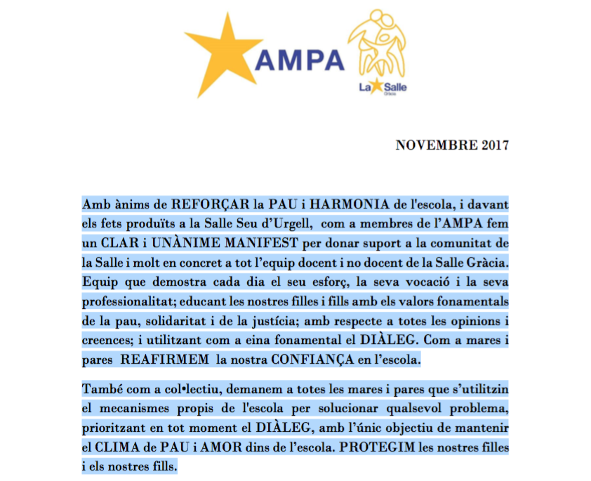 Manifest de suport al personal docent i no docent de La Salle Gràcia