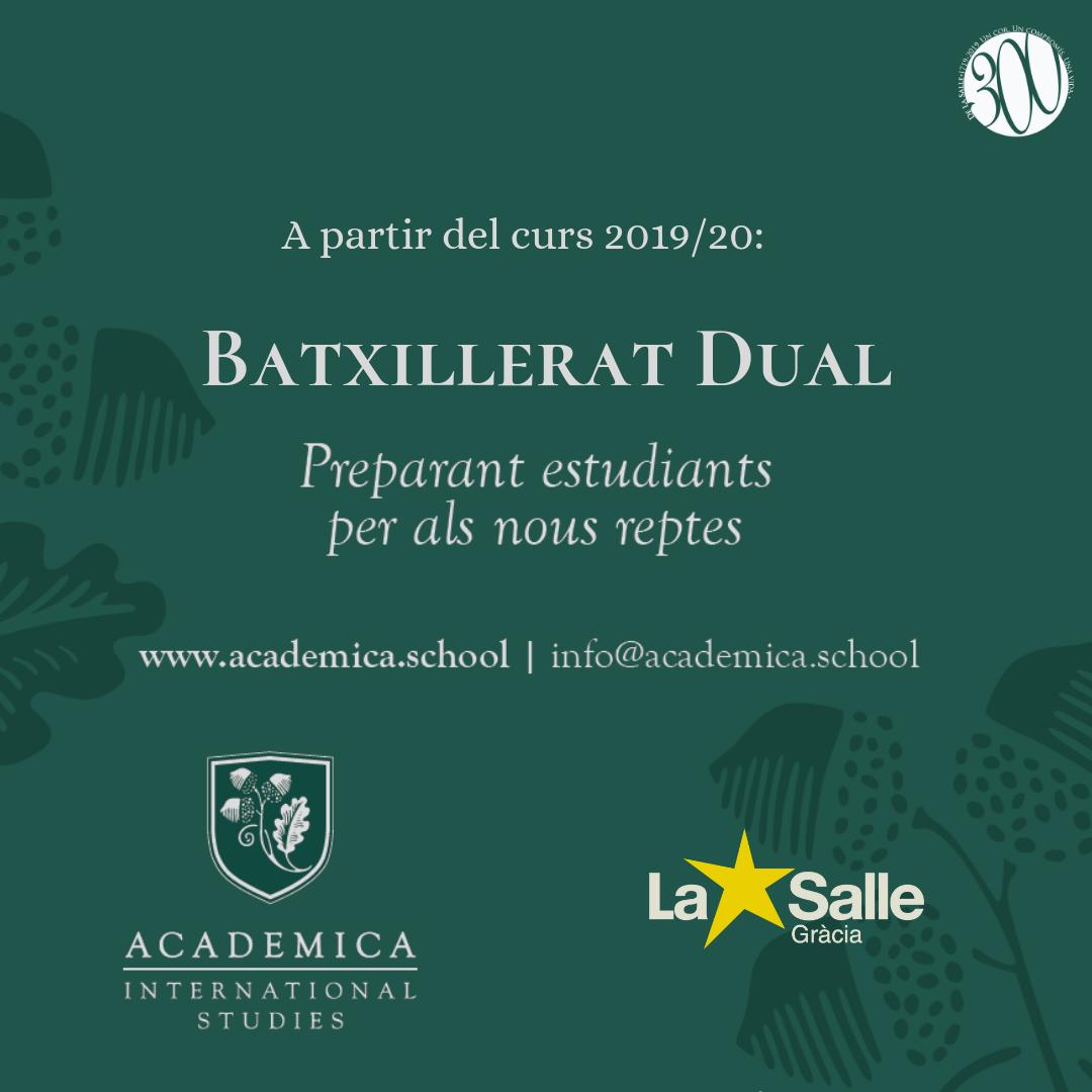 La Salle Gràcia tindrà Batxillerat Dual a partir del curs 2019/20