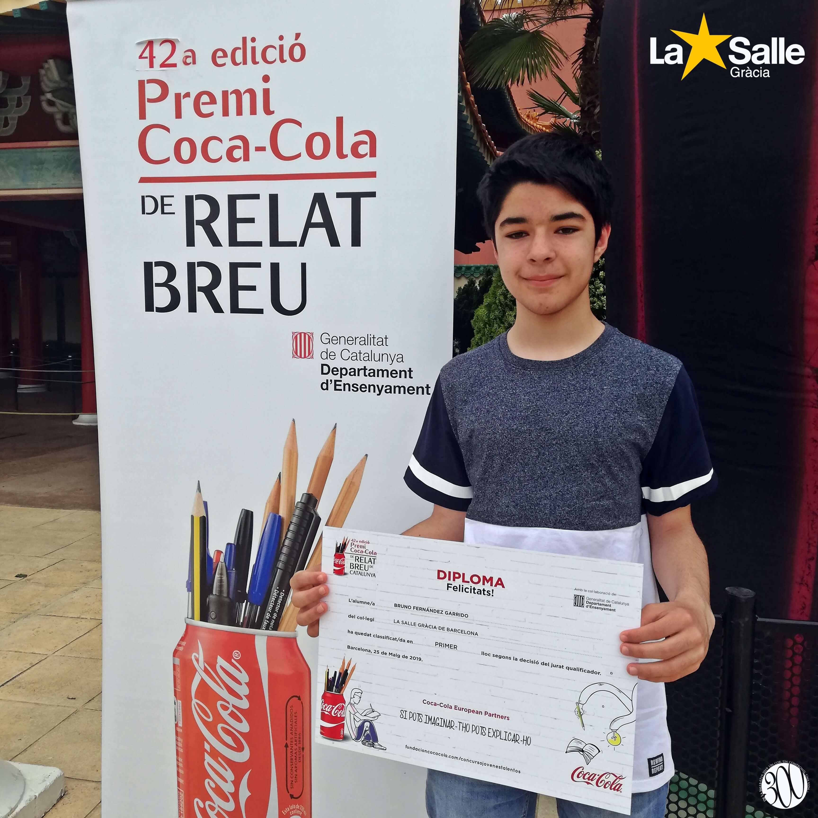 Bruno Fernández (2n d'ESO) classificat per als premis Coca-Cola de relat breu