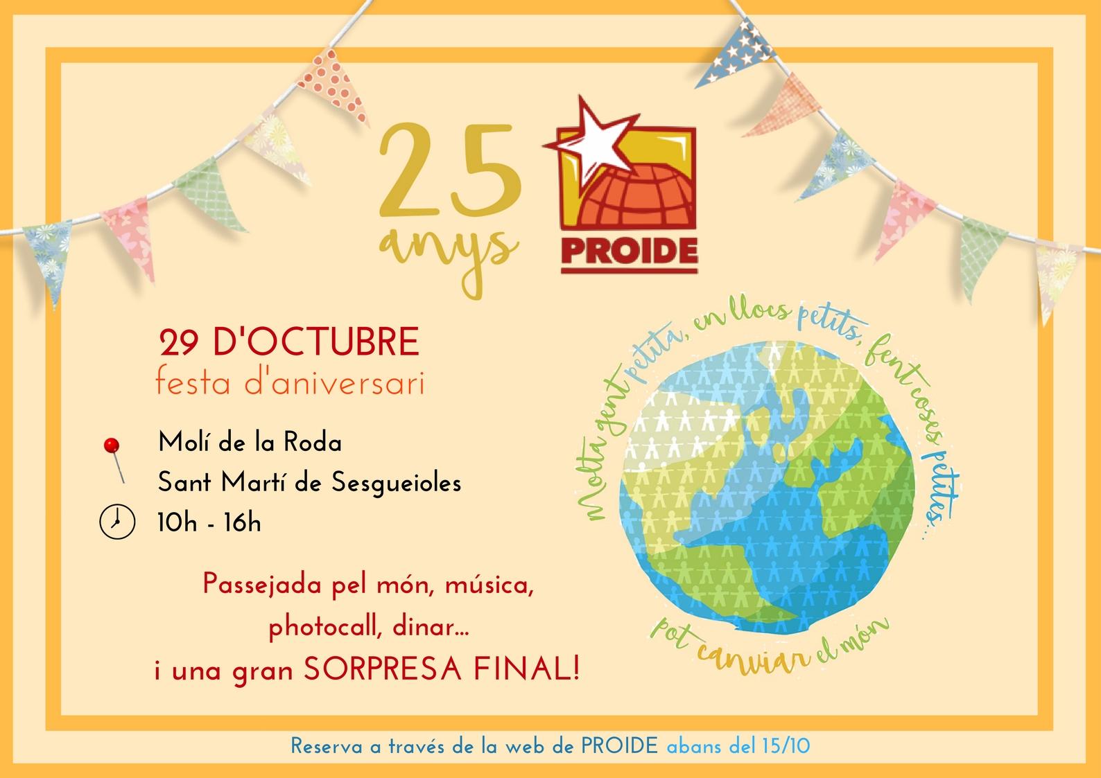 Festa de celebració dels 25 anys de la Fundació PROIDE
